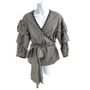 NY Collection Gingham Puff Sleeve Wrap Shirt XL
